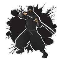 zwarte ninja krijger vector