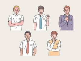 student karakter. jongens maken verschillende gebaren. vector