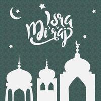 al-isra wal mi'raj vector illustratie het beste voor wenskaart, islamitische achtergrond met gouden koepel van rock moskee