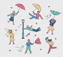 mensen die met paraplu's vliegen in de sterke wind vector