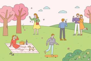 mensen die buitenactiviteiten in een park doen vector