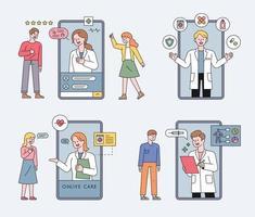 online gezondheidszorg met mobiele telefoon vector