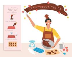 maak een chocoladegeschenkbanner voor Valentijnsdag vector