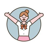 een meisje glimlacht met opgeheven armen. platte ontwerpstijl minimale vectorillustratie.