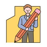 een mannelijke student tekent een kader met een groot potlood. platte ontwerpstijl minimale vectorillustratie.