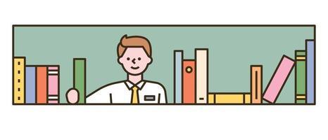 een jongen houdt een boek uit de boekenkast vast. platte ontwerpstijl minimale vectorillustratie. vector