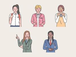student meisje in schooluniform set vector