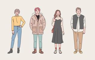 jongeren tekenset met informele stijl vector