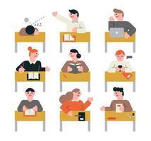 de leerlingen in de klas praten. vector