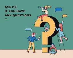 vraagteken en mensen poster vector