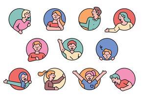 gelukkige mensen ronde avatar set