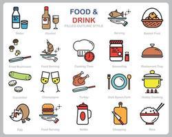 voedsel en drank pictogrammenset voor website, document, posterontwerp, afdrukken, toepassing. eten en drinken concept pictogram gevuld kaderstijl.