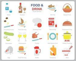 eten en drinken pictogrammenset voor website, document, posterontwerp, afdrukken, toepassing. eten en drinken concept platte pictogramstijl.