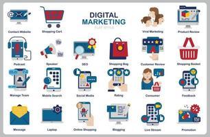 digitale marketing icon set voor website, document, posterontwerp, afdrukken, toepassing. digitale marketing concept pictogram vlakke stijl. vector