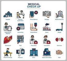 medische check-up icon set voor website, document, posterontwerp, afdrukken, toepassing. gezondheidszorg concept pictogram gevuld overzichtsstijl. vector