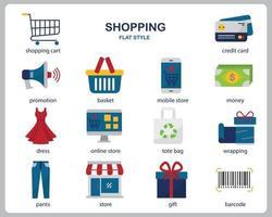 shopping icon set voor website, document, posterontwerp, afdrukken, applicatie. winkelen concept pictogram vlakke stijl. vector