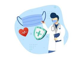 viruspreventie concept vectorillustratie. arts raadt het gebruik van een medisch masker aan. coronavirus preventie. kan gebruiken voor de startpagina, mobiele apps. karakter cartoon afbeelding vlakke stijl. vector