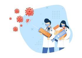viruspreventie concept vectorillustratie. mannelijke en vrouwelijke arts bestrijden virus met vaccin. vaccinatie. karakter cartoon afbeelding vlakke stijl. vector