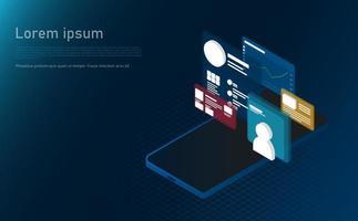 isometrische laptopanalyse-informatie. futuristisch concept.