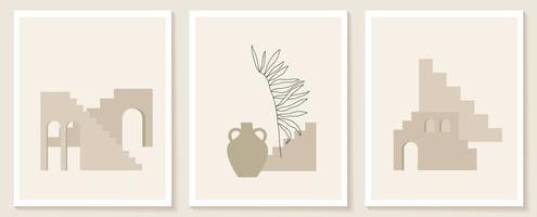 trendy eigentijdse set van esthetische achtergrond met geometrische architectuur, Marokkaanse trappen, muren, boog, boog, vazen. vector posters voor wanddecoratie in vintage stijl