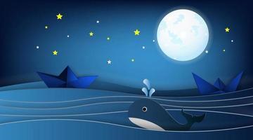 zeilboten op het oceaanlandschap met walvis en sterren in de nachtelijke hemel vector