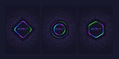 set dekking achtergrond met heldere cirkels vector