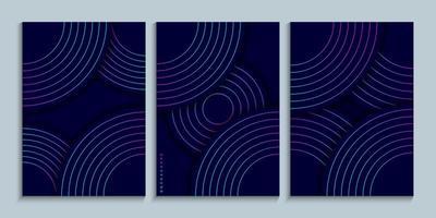 omslagontwerpcollectie met lineaire cirkels met neonverloop vector