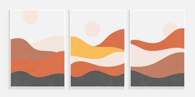 abstracte minimalistische hedendaagse esthetische achtergronden landschappen vector