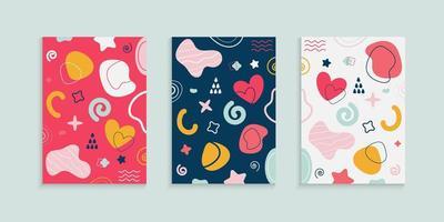 abstract kleurrijk omslagontwerp met doodle elementen vector