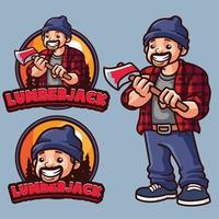 houthakker mascotte logo sjabloon vector