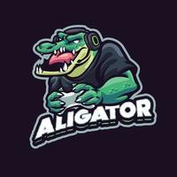 gaming alligator mascotte karakter vector