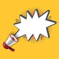 megafoon met het sjabloon van de bellentoespraak voor advertentie, vectorillustratie vector