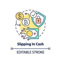 uitglijden in contant geld concept pictogram vector