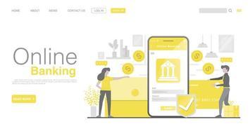 online bankieren en mobiel betalen. personagekarakters die smartphone gebruiken voor mobiele internetbetalingen. bestemmingspagina in vlakke stijl. vector