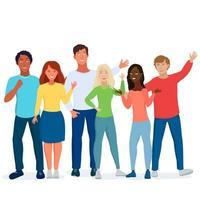 multiculturele vrienden, studenten. vector