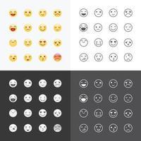 emoji avatar collectie set, emoticons geïsoleerde pictogrammen platte lijn ontwerp op witte achtergrond, vector illustratie.
