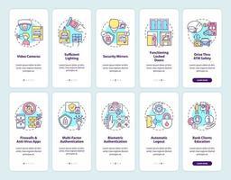 bankbeveiliging onboarding mobiele app-paginascherm met ingestelde concepten vector