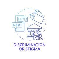 discriminatie of stigma blauwe kleurovergang concept pictogram vector