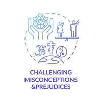 uitdagende misvattingen en vooroordelen blauwe kleurovergang concept pictogram vector