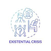 existentiële crisis blauwe kleurovergang concept pictogram vector