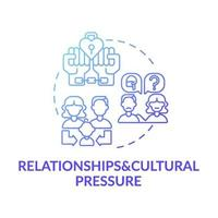 relatie en culturele druk blauwe kleurovergang concept pictogram vector