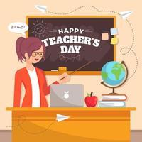 lerarendag met het concept van het lesgeven aan studenten vector