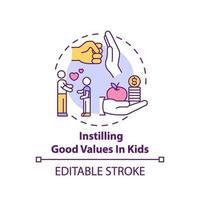 het bijbrengen van goede waarden in het pictogram van het concept van de kinderen vector