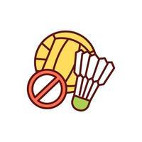 verboden indoor, outdoor teamsporten RGB-kleur pictogram vector