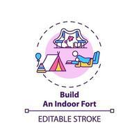 bouw een indoor fort-conceptpictogram vector