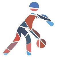 mozaïek platte sport icon - streetball. modern vector
