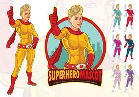 vrouwelijke superheld mascotte voor bedrijf vector