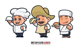 schattige chef-kok mascotte set vector
