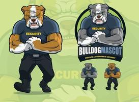 bulldog-mascotte voor beveiligingsbedrijf met optionele huidskleuren