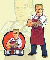 enge chef-kok mascotte ontwerp voor illustratie of logo-ontwerp vector